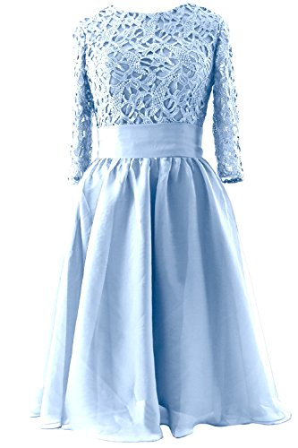 MACloth Women Half Sleeve Lace Short Mother of Bride Dress Formal Evening Gown Cielo azul