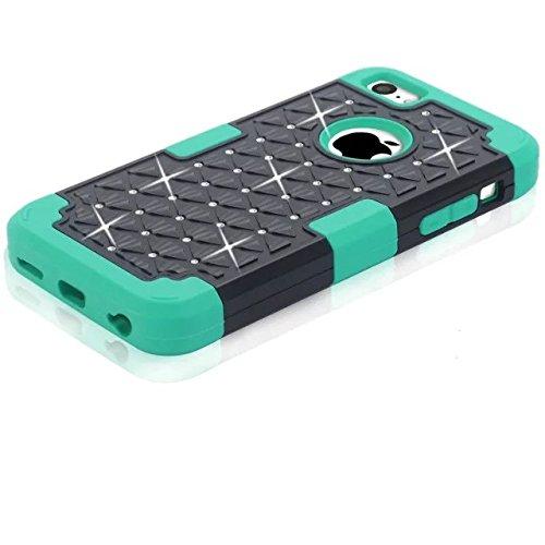 IPhone 5C hülle,Lantier [weicher harter Tough Case] ??Designer Kristallbling Hybrid Rüstungs Kasten Abdeckung für Apple Iphone 5C Schwarz + Blau