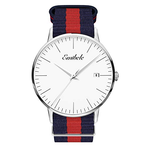 Watch Blue Dial Calendar - Emibele Mens Quartz Watch, Business Casual Fashion Waterproof 50M Water Resistant Quartz Wristwatch with Striped Nylon Band and Calendar Date Window for Men - Silver Dial + Blue & Red Band