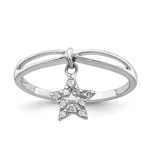 FB Jewels Solid Sterling Silver Rhodium Plated Diamond Star Dangle Ring Size 6