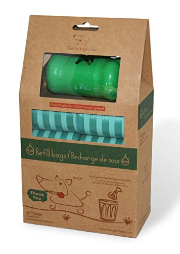 Best Pet Supplies  Inc  Scented Pet Waste   Poop Bag Refills   Green Stripes  240 Bags