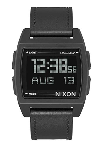 - Nixon Base Leather All Black Men's Retro Style Smart Watch (38mm. Digital Face/Black Leather Band)