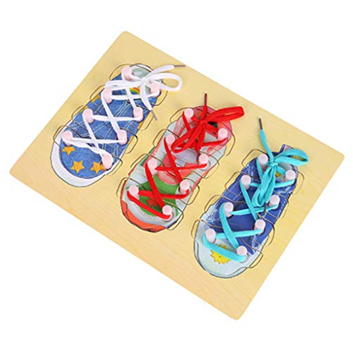 F-blue Early Learning Resources Educational Toys Wooden Shoes Lacing Tying Tie Board for Children Kids