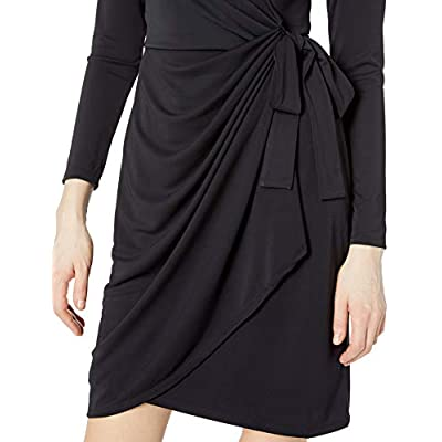 Brand - Lark & Ro Women's Classic Long Sleeve Wrap Dress: Clothing