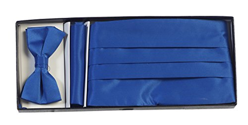 Gioberti Men's Satin Formal Bow Tie, Pocket Square, and Cummerbund Set, Royal Blue Royal Blue Cummerbund