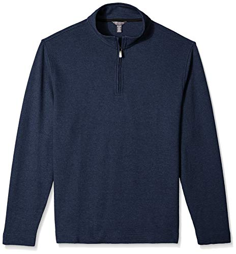Van Heusen Men's Flex Long Sleeve 1/4 Zip Ottoman Solid Shirt, Blue Underground, X-Large