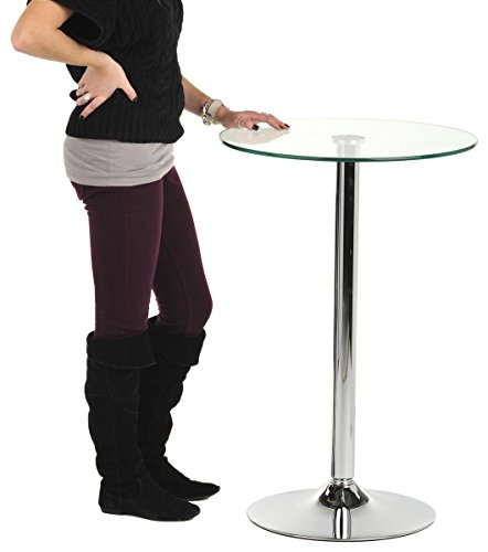 23.5-inch Pub Table with Glass Top, 36-inch Fixed Height Round Table for Bars, Aluminum Glass