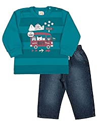 Baby Boy Outfit Infant Sweatshirt and Denim Pants Winter Set 3-6 Months - Cobalt