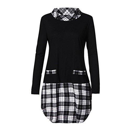 NEARTIME Clearance Women Autumn Blouse Winter Long Sleeve Plaid Patchwork Coat Plus Size Turtleneck Long Tops - Turtleneck Gorgeous