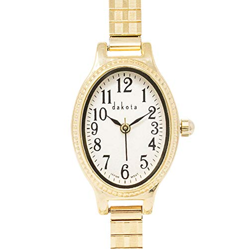 Dakota Ladies Oval Twist 21mm Stainless Steel Expansion Band Water Resistant Watch (Gold) (Model: 76189)