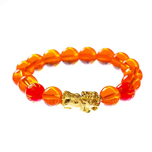 Prime Fengshui Porsperity Feng Shui Crystal Bead Bracelet with Golden Pi Xiu/Pi Yao Attract Wealth and Good Luck(Orange) - Feng Shui Crystal Bracelet