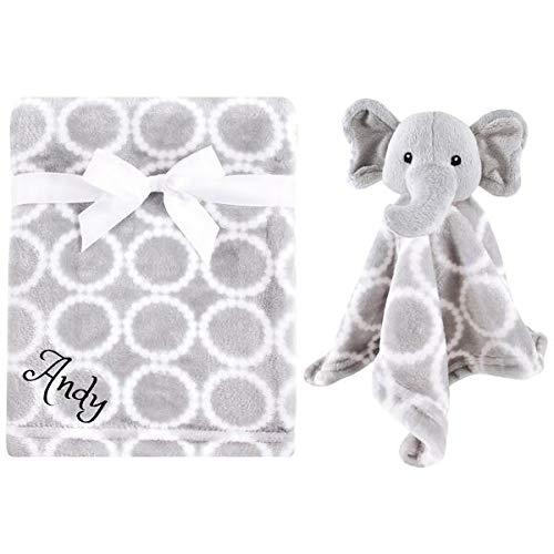 Personalized Animal Blanket & Security Blanket Set for Baby - Grey Elephant | Custom Name or Monogram (Grey Elephant)