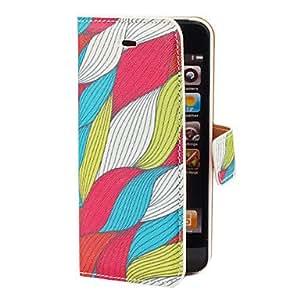 comprar Ondas coloridas del patrón de la PU de caso completo del cuerpo con ranura para tarjeta y el soporte para el iPhone 5/5S