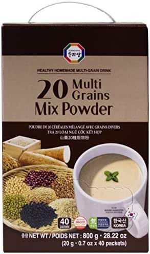 20 Multi-Grains Black, Brown Rice, Beans, Adlay, Millet, Barley, Sesame, Soy Mix Powder Tea Nutritious Healthy Breakfast Homemade Drink (20g x 40 packets)