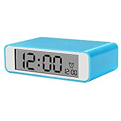 Egundo Flip On Off Mini Travel Alarm Clock Large Digital with Repeating Snooze Nightlight Function Display Day Date Hour Year Bedrooms Kitchen Office Living Room Clock for Adults Heavy Sleepers