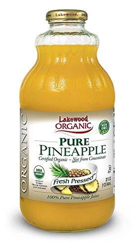 Lakewood Organic Pure Pineapple Juice 32 oz (Pack of 2)