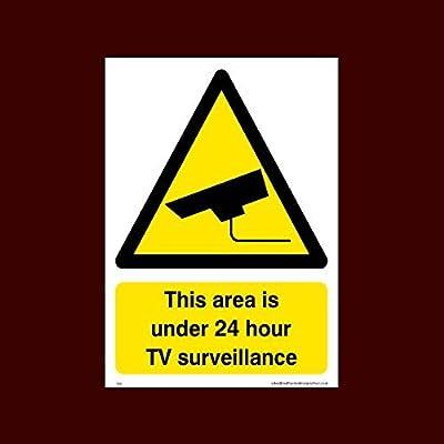 Señal de vigilancia para televisor con texto en inglés «This Area is under 24 hours TV Surveillance Sign» (S24) Funny Warning Stickers for Property, Safety Sign Sticker, vinilo autoadhesivo: Amazon.es: Oficina y