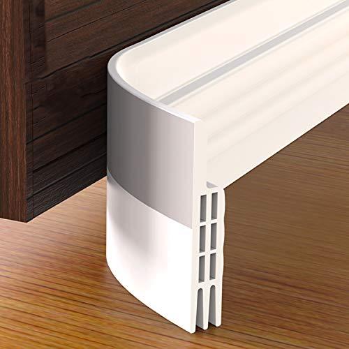 Grotheory 2 Pack Door Draft Stopper, Under Door Draft Blocker, Soundproof Door Sweep Weather Stripping for Doors, 2″ W x 39″ L, White
