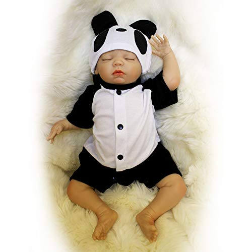Nicery Reborn Baby Doll Soft Simulation Silicone Vinyl Cloth Body 16-18inch 40-45cm Magnetic Mouth Lifelike Vivid Boy Girl Toy for Ages 3+ Panda Clothes -