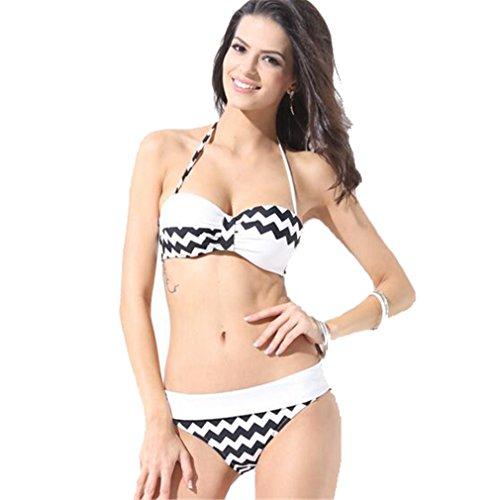 G-Beauty 2016 New European Wavy Stripes Gather Rims Split Swimsuit Bikini Beach(Black-XXL)