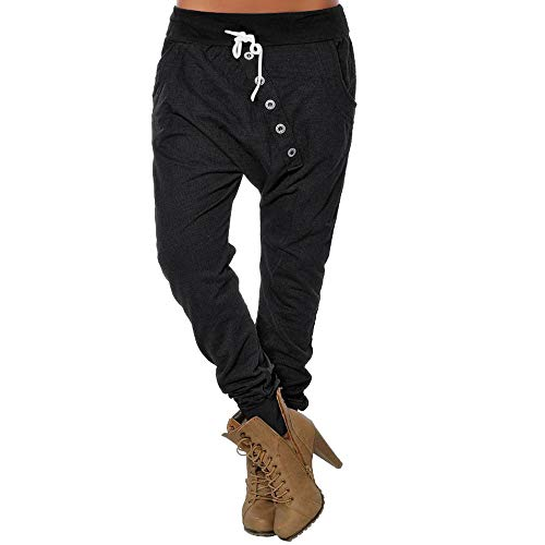 POQOQ Pants Trousers Women's Button Hipsters Harem Sport Bloomers High Waist L Black for $<!--$11.40-->