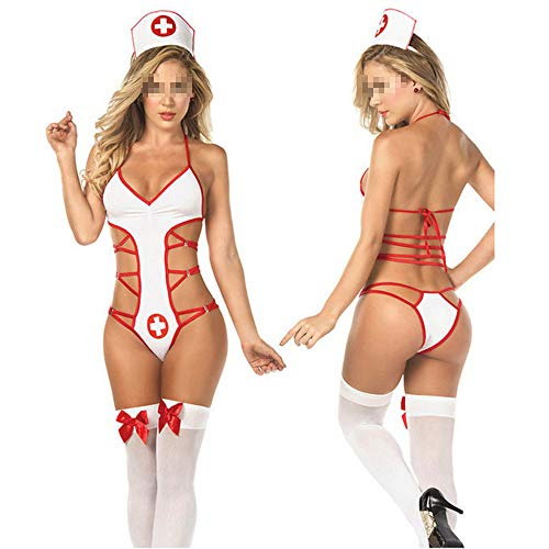 Nurse Costumes Cosplay Temptation Sexy Erotic Lingerie Women Babydoll Lingerie Underwear Uniform as Picture XL (Stools Bar Thong)