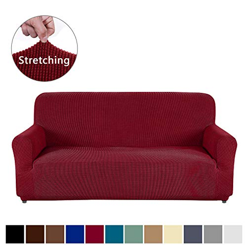 AUJOY Loveseat Cover Stretch 1-Piece Couch Slipcover for 2 Cushion Couch Jacquard Spandex Fabric Sofa Furniture Protector with Anti-Slip Foams (Loveseat, Wine Red)