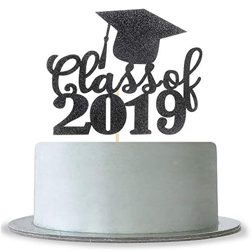 Black Glitter Class of 2019 Cake Topper with Cap Congrats Grad,Graduation Party -