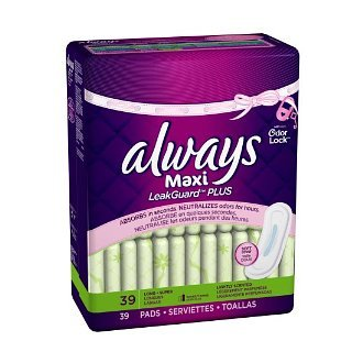 Always Maxi LeakGuard Plus Odor-Lock Pads without Wings 39-Count (Pack of 6) (Pantyliners Wings)