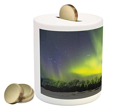 Alaska Piggy Bank By Ambesonne  Aurora Borealis Over The Snow Covered Forest In The Northwest America Alaskan Winter  Printed Ceramic Coin Bank Money Box For Cash Saving  Multicolor