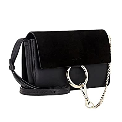 Actlure Genuine Leather Crossbody Shoulder Bag Purse Chain link, Black