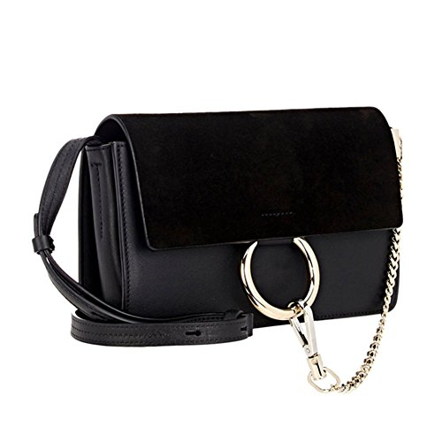 Chain FY Bag Black Actlure Shoulder Genuine Women Crossbody Link Leather Purse xPU1n6