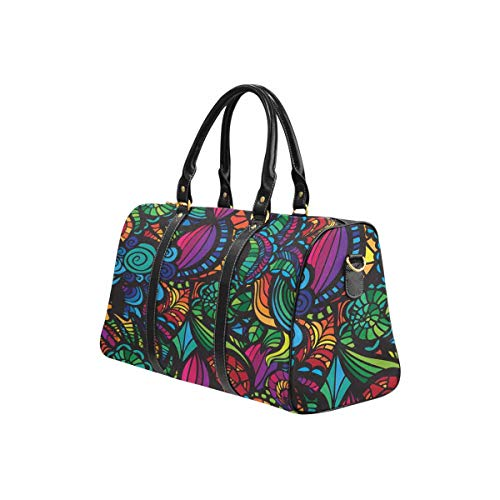 InterestPrint Unisex Duffel Bag Carry-on Bag Overnight Bag Weekender Bag Mosaic Pattern With Flowers