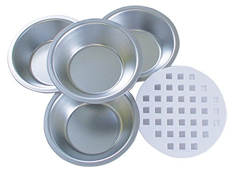 R&M International 2732 Mini Pie Pan and Decorative Lattice Topper Cutter Set, Includes 4 Pans and 1 Topper