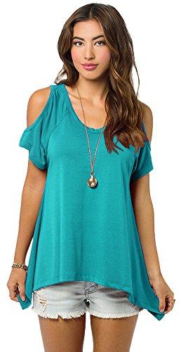 - Urban CoCo Women's Vogue Shoulder Off Wide Hem Design Top Shirt - Large - Teal