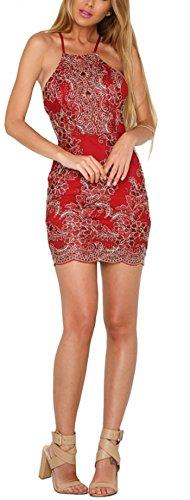 d4413330ee71 ... LOBTY Damen Kleid Sommer Kurz Etuikleid Spitzekleid Sommerkleid  Minikleid Abendkleid Cocktailkleid Spitze Eng Neckholder Ärmellos  Schulterfrei ...
