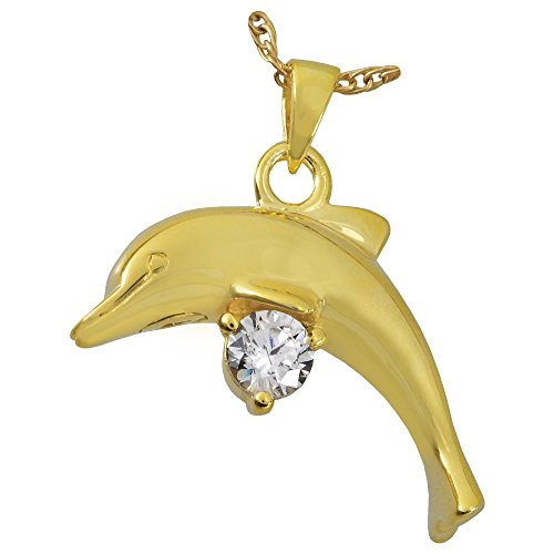 (Memorial Gallery 3209gp Dolphin with Stone 14K Gold/Sterling Silver Plating Cremation Pet Jewelry)