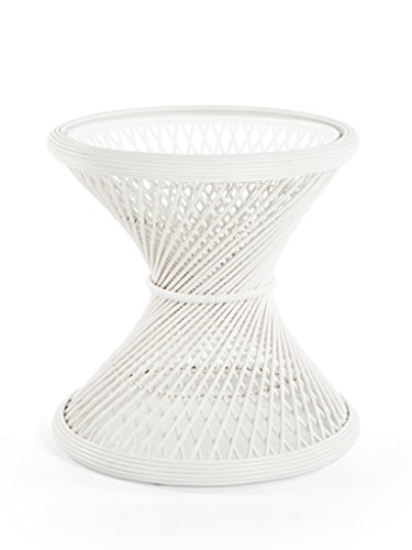 Kouboo 1110043 Peacock Sidetable Rattan Glass Top, White