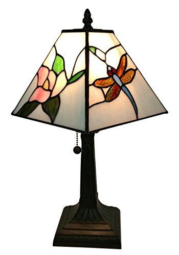Amora Lighting Tiffany Style AM220TL08 Mission Dragonfly Table Lamp 8 Inches Wide