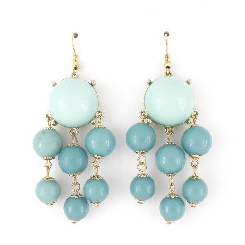 Beautiful Bohemia Gold-tone Round Blue Beads Dangle Drop Earrings]()