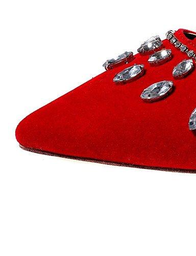 PDX/ Damenschuhe-Ballerinas-Kleid / Lässig / Party & Festivität-Samt-Flacher Absatz-Mary Jane / Spitzschuh-Schwarz / Blau / Rot red-us8.5 / eu39 / uk6.5 / cn40