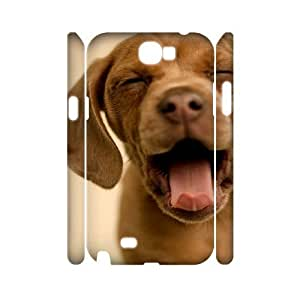 3D Yawning Dog Samsung Galaxy Note 2 Cases, Case for Samsung Galaxy Note 2 Luxury Design Protective Tyquin - White
