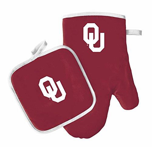 Oven Mitt and Pot Holder Set - Barbeque BBQ Kitchen Backyard Outdoors - NCAA - Oklahoma Sooners ()
