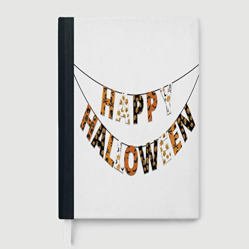 Casebound Hardcover Notebook,Halloween,Notepad Student Award Gift Decorative Notebooks,Happy Halloween Banner Greetings Pumpkins Skull Cross Bones Bats Pennant Decorative,96 Ruled Sheets,A5/8.24x5.73