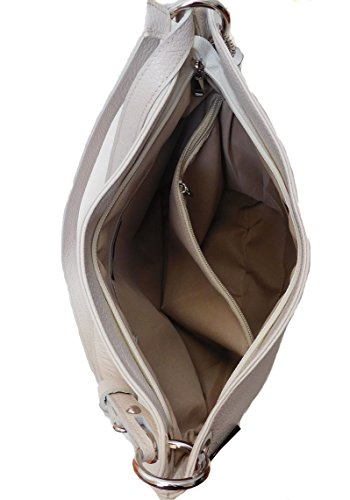 Borsa a spalla in vera pelle made in Italy colore beige