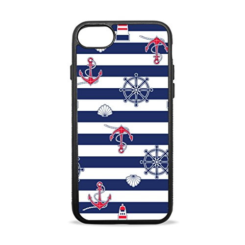 AURELIOR iPhone 7 Plus Case, Marine Anchor Lighthouse Seashell On Striped Cover Case Soft TPU Protective Anti-Slippery Scratch-Resistant Shockproof Bumper for Apple iPhone 7 Plus (5.5 Inch)