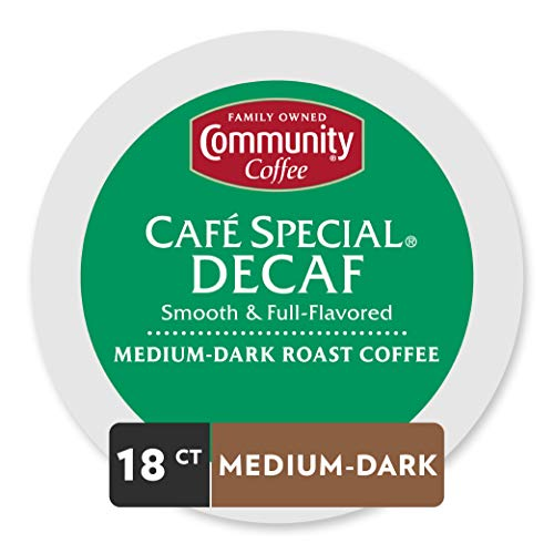 Community Coffee Café Special Decaf Medium Dark Roast Single Serve, 18 Ct Box, Compatible with Keurig 2.0 K Cup Brewers, Medium Full Body Smooth Bright Taste, 100% Arabica Coffee Beans