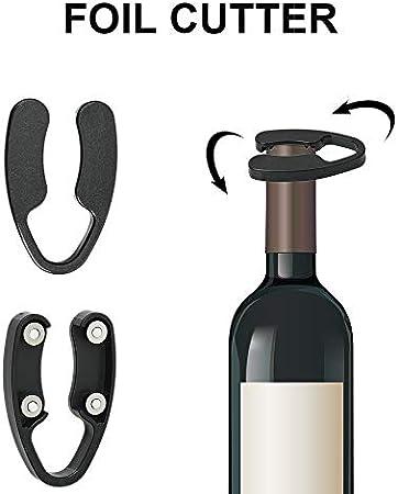 Dightyoho Sacacorchos Profesional de Presión de Aire, Abridor de Vino de Aire Comprimido de Aluminio, Abrebotellas de Vino para Quitar Corcho, Negro