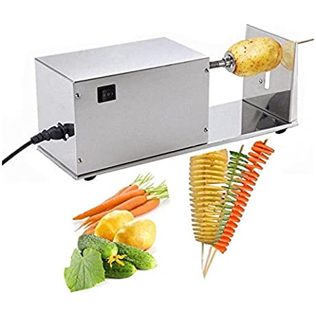 BestEquip Electric Tornado Potato Spiral Cutter Automatic 10W Spiral Potato Cutter With 1 Extra Blade Potato Slicer For Tornado Potatoes Making Auto