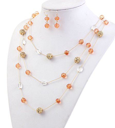 New Beautiful Fashion 3 Layer Handmade Jewelry Set Long Illusion Necklace (plated ()